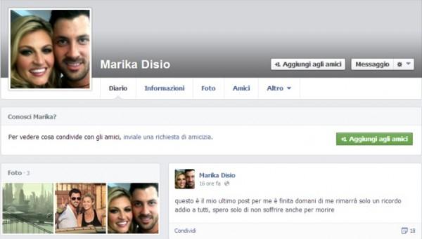Minaccia suicidio su Facebook