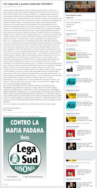 Gianfranco Vestuto contro la Lega Nord