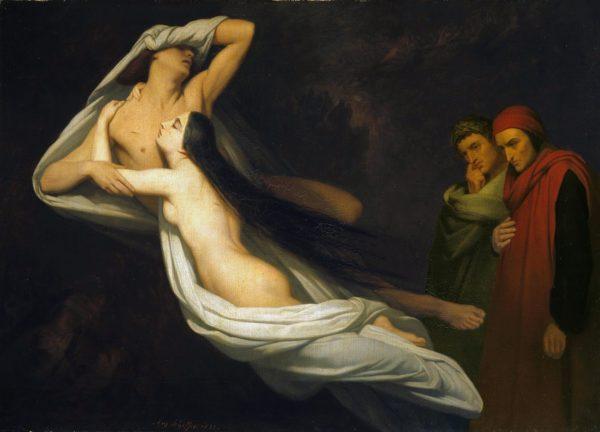 Virgilio e Dante all'Inferno con Paolo e Francesca