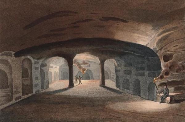 Livello superiore della Catacomba (immagine tratta da Bellermann, Über die ältesten christlichen Begräbnisstätten, Hamburg 1839)