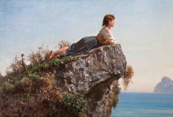 Filippo Palizzi - La fanciulla sulla roccia a Sorrento.1