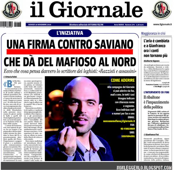 Il Giornale 18 11 2010 - Firme contro Saviano - Nonleggerlo