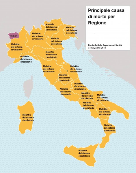 Principali cause di morte in Campania e in Italia