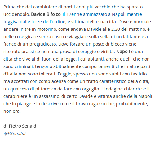 Libero, articolo di Pietro Senaldi su Davide Bifolco