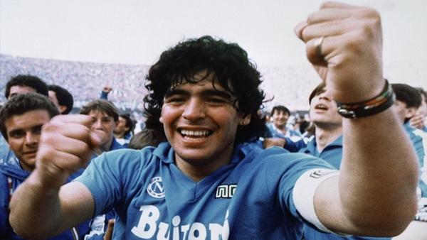 Maradona dopo la vittoria del primo scudetto del Napoli
