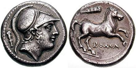 Serie romano-campana, con al dritto Marte con elmo corinzio, al rovescio un cavallo rampante con la legenda Roma. Foto da wikimedia.org