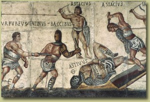 Mosaico con lotta tra gladiatori