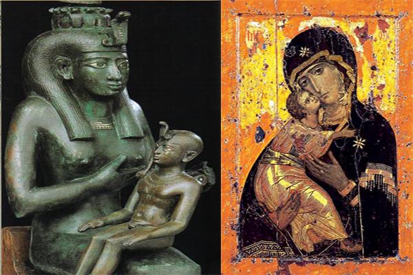 Iside con bambino e Madonna Bruna con bambino