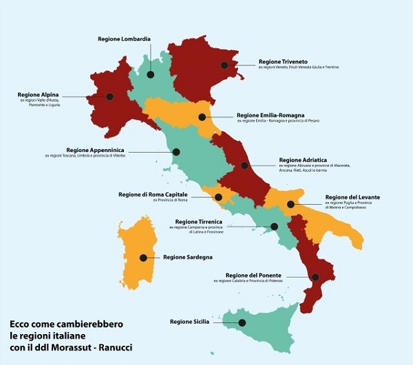 Il pd ridisegna l 39 italia solo 12 regioni e cresce la - Ci mappa da colorare pagina di mappa ...