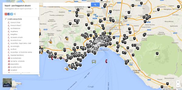 Mappa interattiva parcheggiatori abusivi