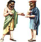 Raffigurazione di una scena teatrale in epoca greco-romana