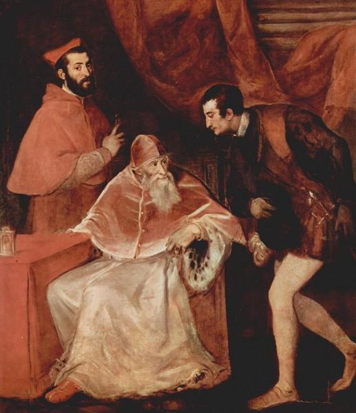 Ritratto di Paolo III con i nipoti Alessandro e Ottavio Farnese, Tiziano