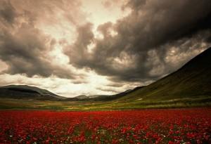 Castelluccio di Norcia temporale sui monti