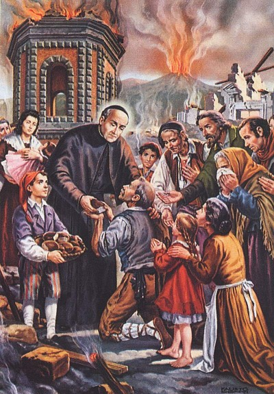 Beato Vincenzo Romano assiste il popolo durante l'eruzione