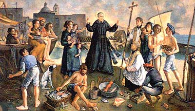 Beato Vincenzo Romano fra i pescatori, raffigurazione votiva