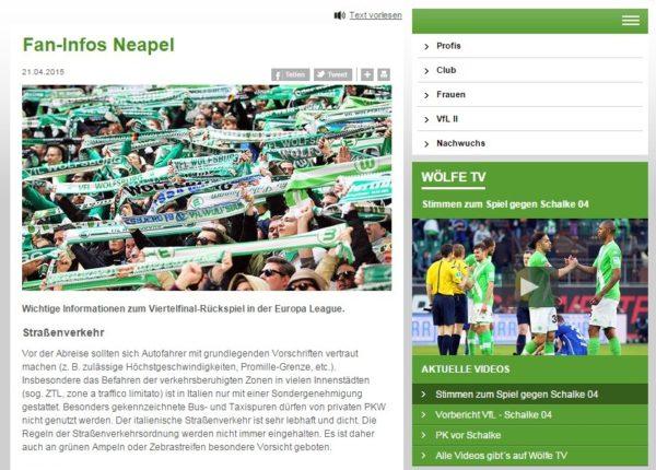 Napoli Wolfsburg messaggio di allerta