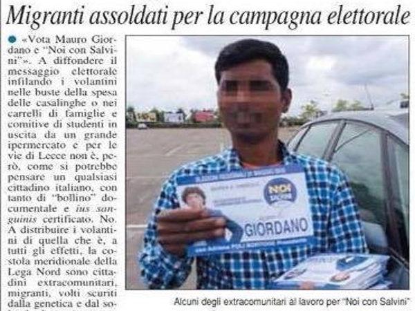 Mauro Giordano, Matteo Salvini, 25 euro per otto di lavoro a immigrato