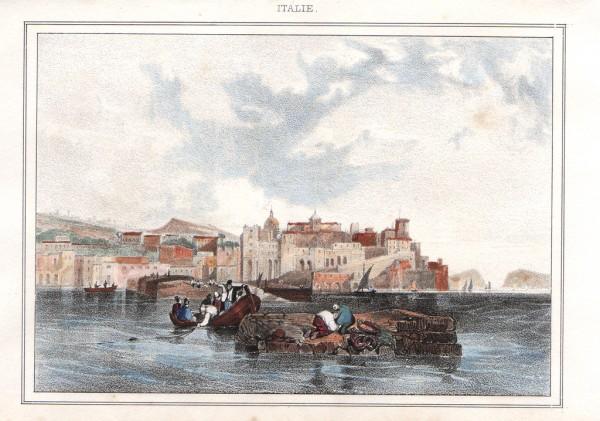 Litografia del 1833 con acquerellatura manuale