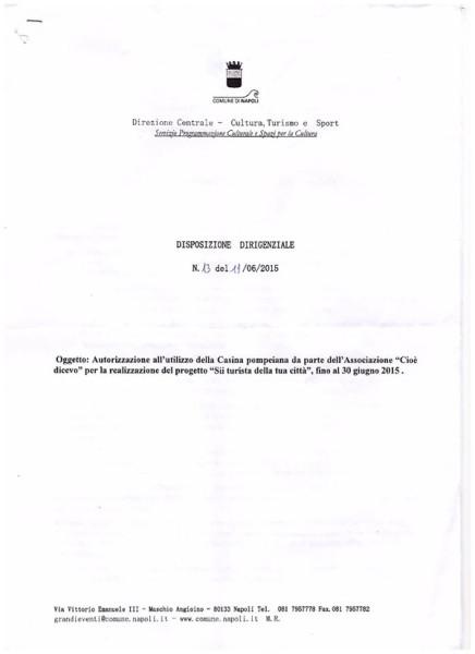 Disposizione Dirigenziale affidamento Casina Pompeiana - Sii Turista Della Tua Città