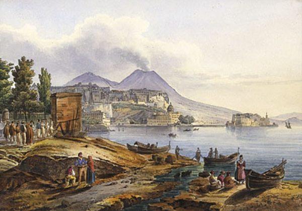 Napoli, Pizzofalcone e Castel dell'Ovo. Opera di Giacinto Gigante