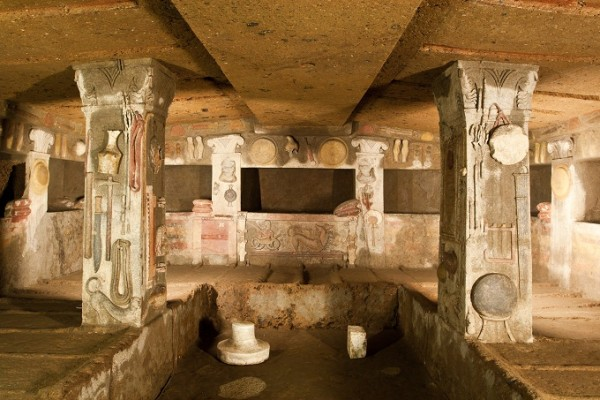 Interior of ancient tomb (etruscan necropolis)