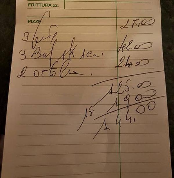 pizzeria pellone prezzi scontrino