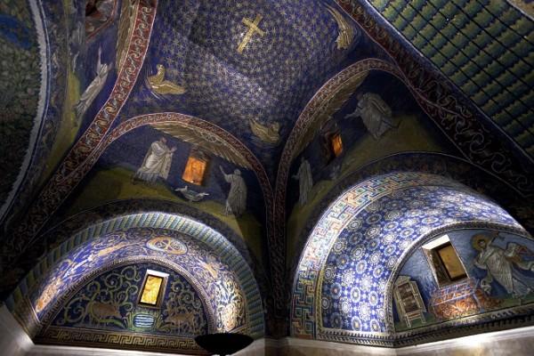 dark blue Mosaic of the galla placidia mausoleum in Ravenn