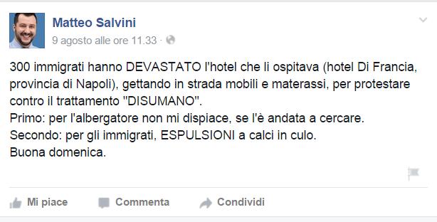 Salvini su Facebook