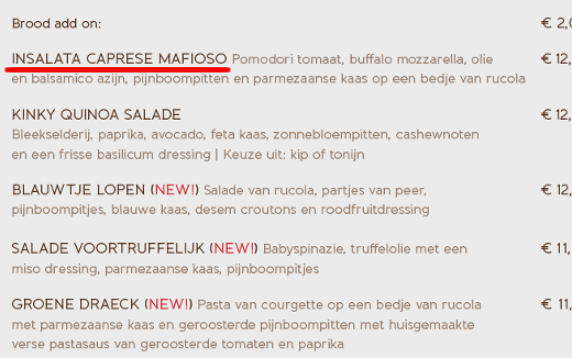 Insalata Caprese Mafioso - Blushing Amsterdam