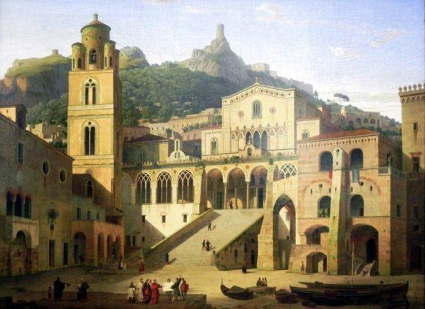 Dipinto di Klenze e mostra Amalfi in epoca rinascimentale