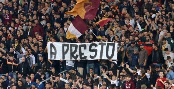 Striscione tifosi Roma contro tifosi Napoli La bocca dello stolto e il suo castigo A presto