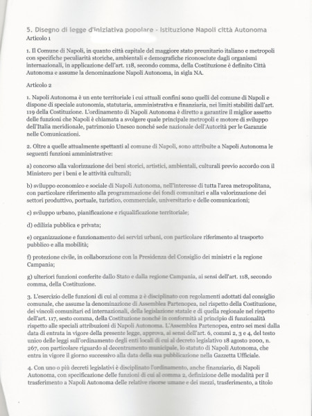 proposta di legge napoli autonoma