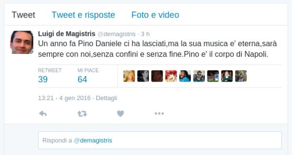 Luigi de Magistris twitter PIno Daniele
