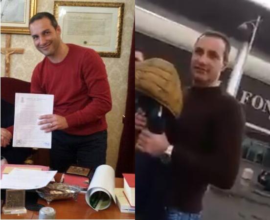 Confronto tra una foto del sindaco Michele Laurenzano e un fotogramma del video