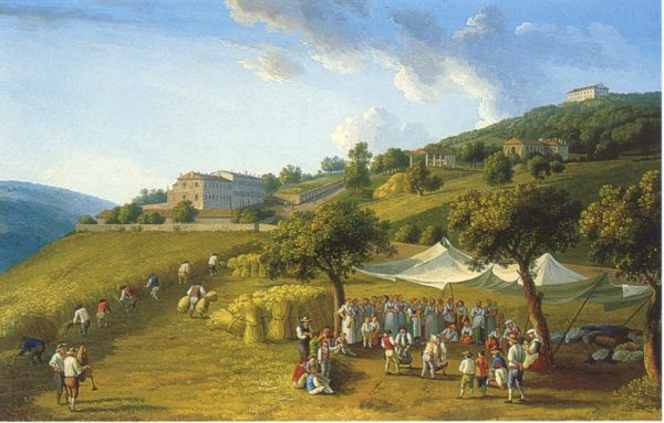 J. P. Hackert, Mietitura a San Leucio, 1782, Palazzo Reale di Caserta, Studiolo di Ferdinando IV.