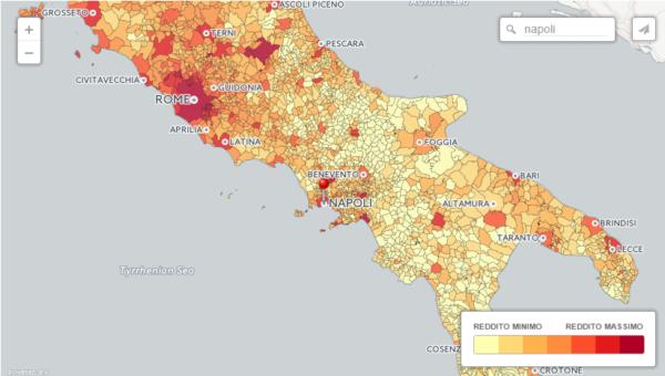 mappa del reddito comunale 2016