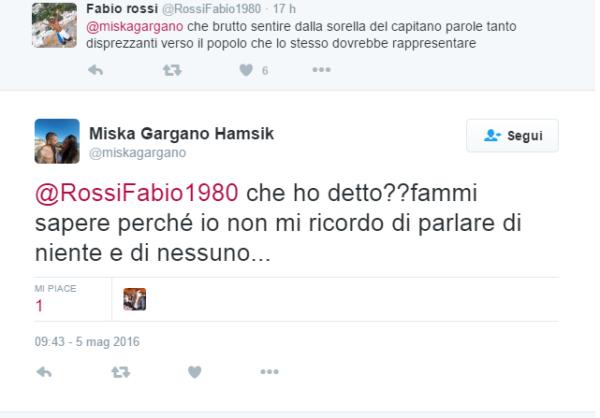 Tweet Gargano moglie