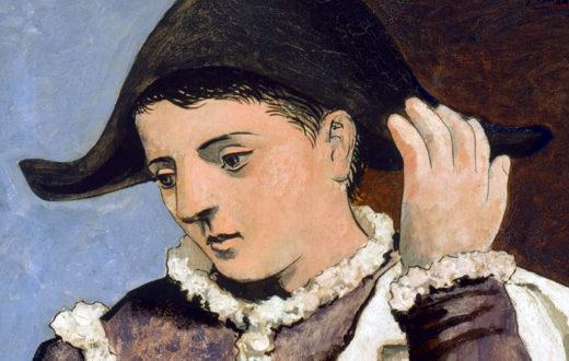 Arlecchino con specchio, Picasso (particolare volto)