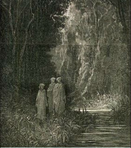 Dante e Virgilio si accompagnano a Matelda lungo la riva del fiume Letè