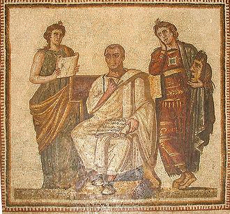 Virgilio con l'Eneide tra Clio e Melpomene