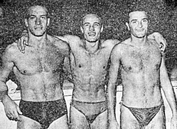 Bud Spencer da nuotatore. È il primo da sinistra