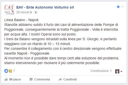 Eav comunicazione linea Napoli-Baiano