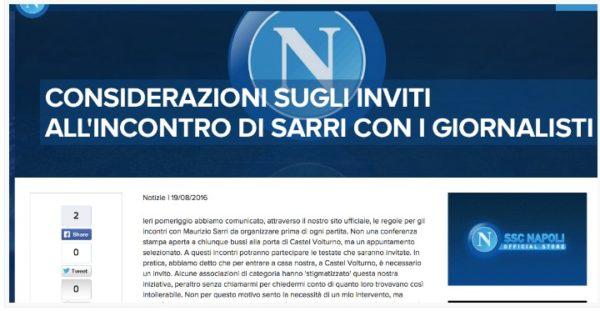 Odg Campania a SSC Napoli: Garantire partecipazione a conferenze stampa