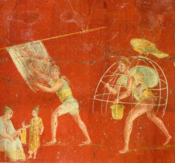 Dipinto murale della folleria di Veranius Hypsaeus, di Pompei, oggi nel Museo Archeologico Nazionale di Napoli.
