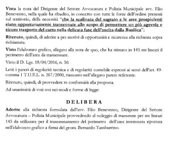 L'ordinanza firmata dalla giunta Borriello