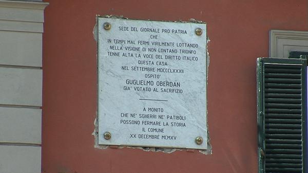 Lapide in memoria di Guglielmo Oberdan.