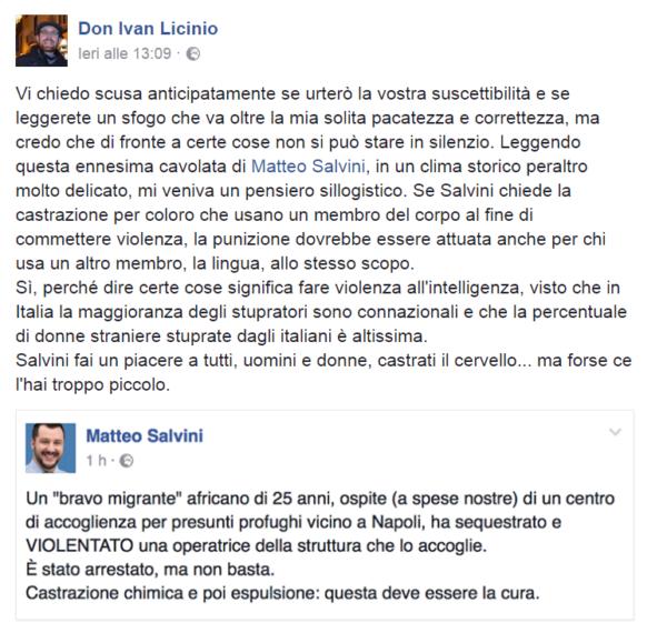 Campania, prete a Salvini: