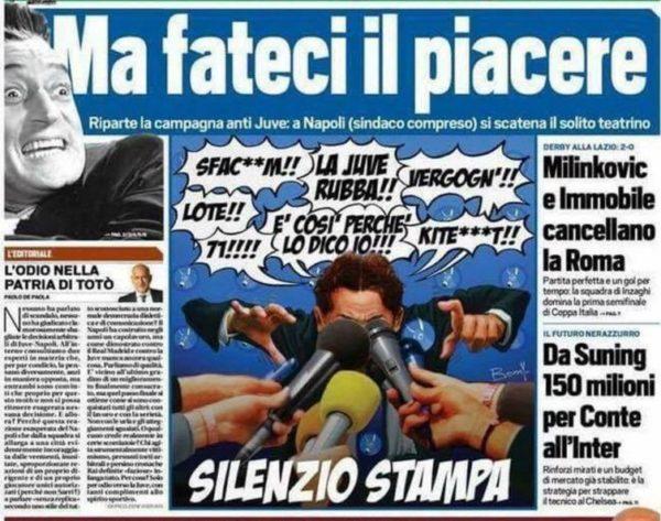 Prima Pagina Libero Oggi contro Napoli: