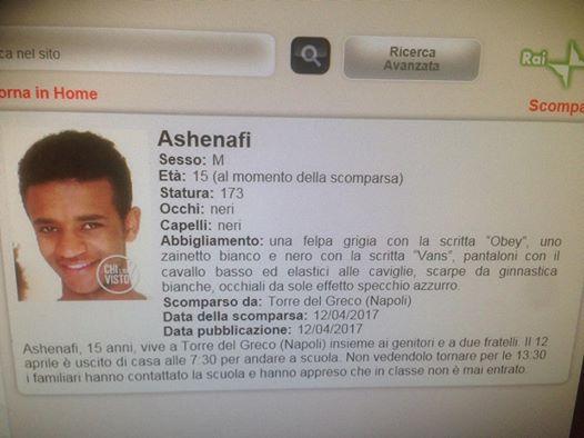 Ritrovato Ashenafi, il giovane torrese scomparso