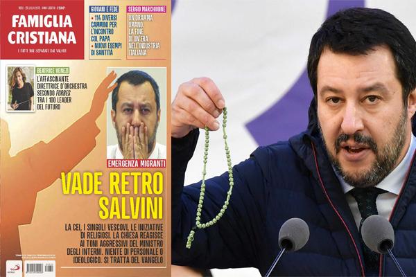 bc70a3a6aa Questa, la copertina dell'ultimo numero di Famiglia Cristiana, dedicato al  ministro degli Interni Matteo Salvini. Sullo sfondo, una mano che si  staglia ...